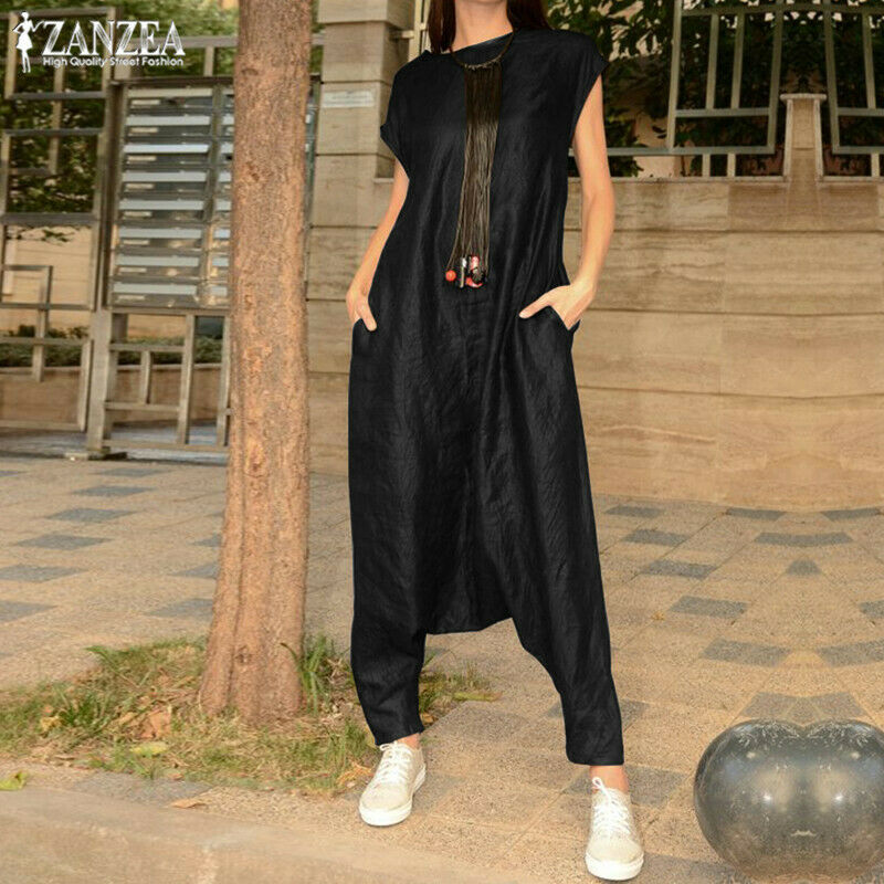 Fashion Women Casual Short Sleeve Jumpsuits Stylish Pocket Design Solid Color Black Rompers Casual Loose Overall Playsuit Hot