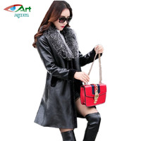Leather Coats Women Winter Leather Jacket Female Black Shearling Coat Fur Collar Thick Warm Long Suede