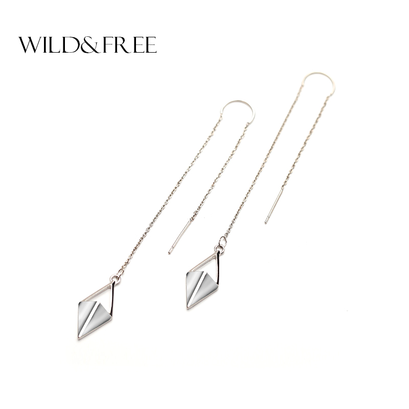 Women Zinc Alloy Silver Rhombus Pendant Long Ear Line Drop Earrings Europe Punk Long Line Dangle Earring Jewelry