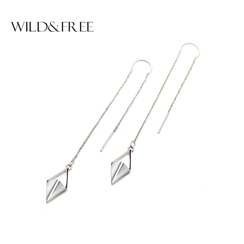 Women Zinc Alloy Silver Rhombus Pendant Long Ear Line Drop Earrings Europe Punk Long Line Dangle Earring Jewelry