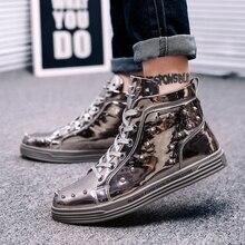 Qweff 2019 мужская повседневная обувь с заклепками с высоким верхом расшитая блестками ткань мужская обувь на плоской подошве мягкая модная мужская обувь Горячая Распродажа zapatos hombre DP-151
