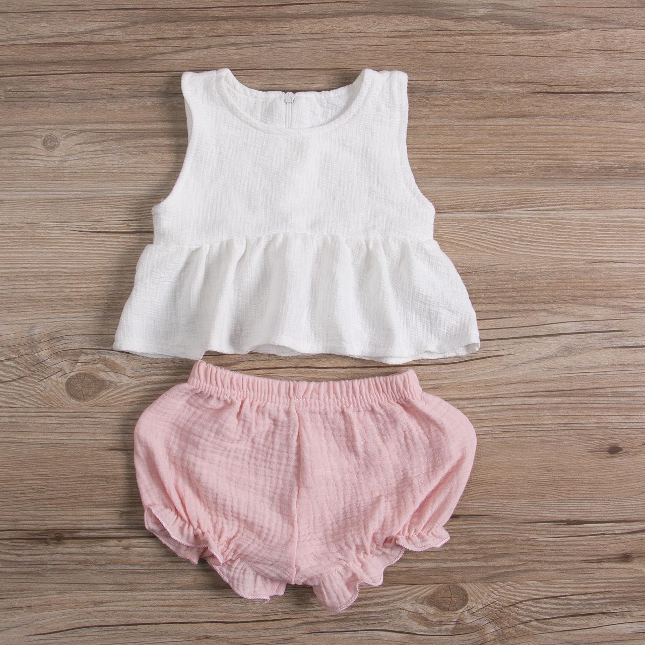 Toddler Kids Baby Girls Summer Princess Clothes Sleeveless T-shirt Tops+Pink Short Pants Outfit 2PCS Set