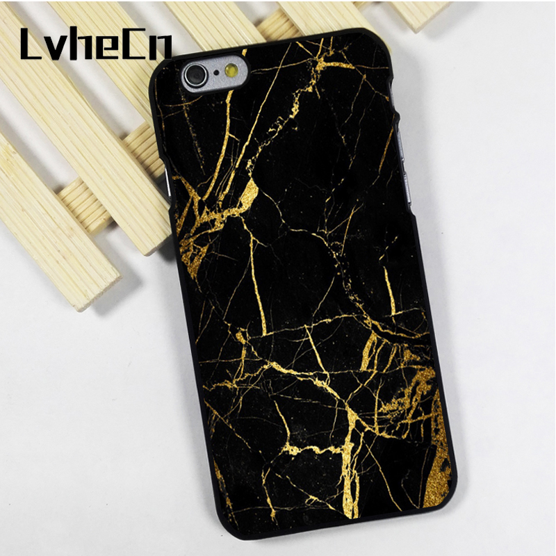 LvheCn phone case cover fit for iPhone 4 4s 5 5s 5c SE 6 6s 7 8 plus X ipod touch 4 5 6 Black Marble Pattern