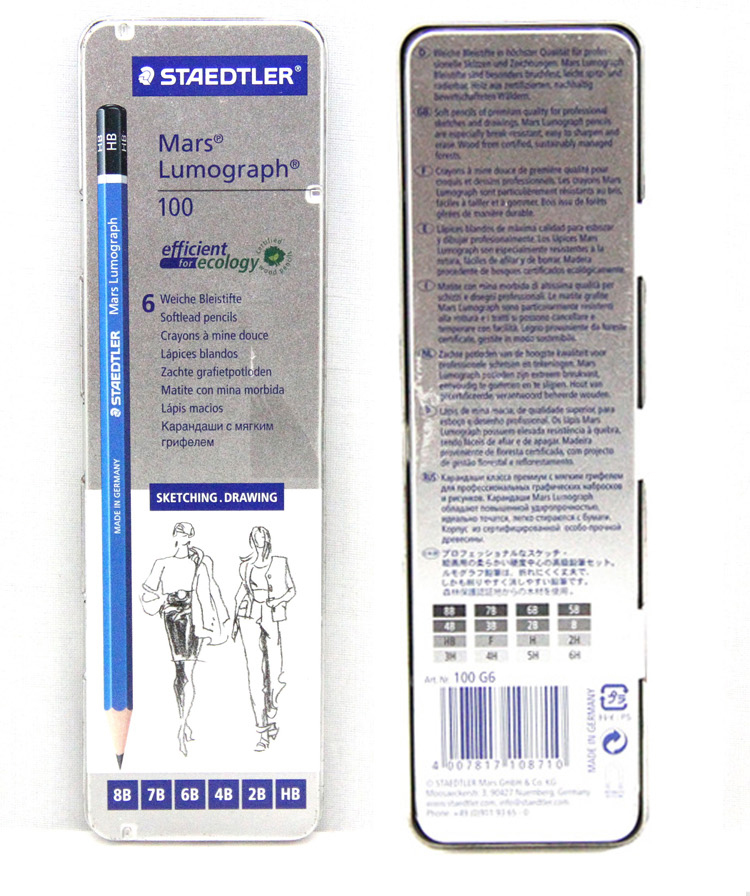 STAEDTLER 100 Mars Lumograph Professional drawing pencil iron box gift set 6 pcs/box ,12 pcs/box цена