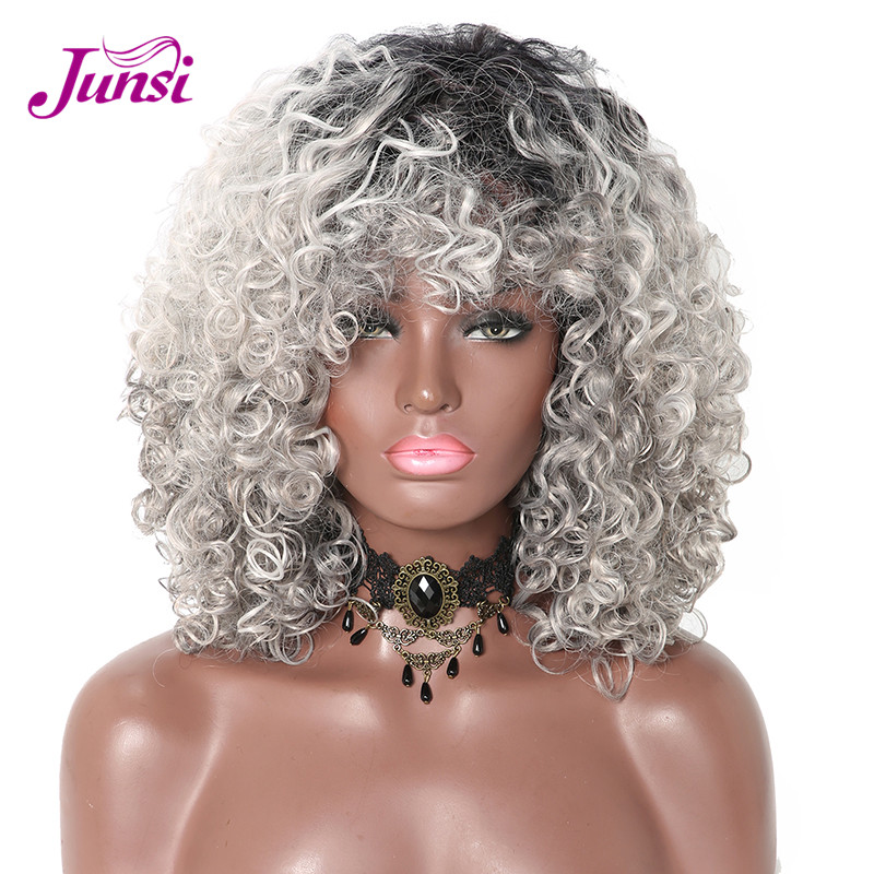 JUNSI Short Mixed Grey Synthetic Curly Wigs For Women Ombre Afro Ombre Wig African American Natural 12Inch Black Grey Color