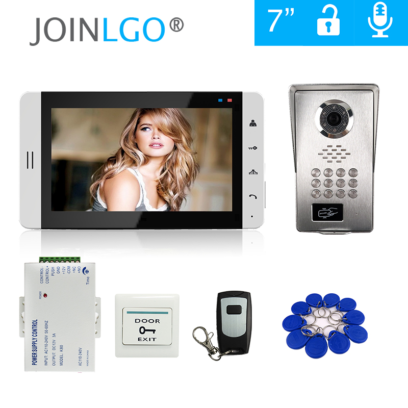 "FREE SHIP 7"" Touch LCD Monitor Video Door Phone Intercom System + Metal RFID Code Keypad Unlock Outdoor Camera + Power