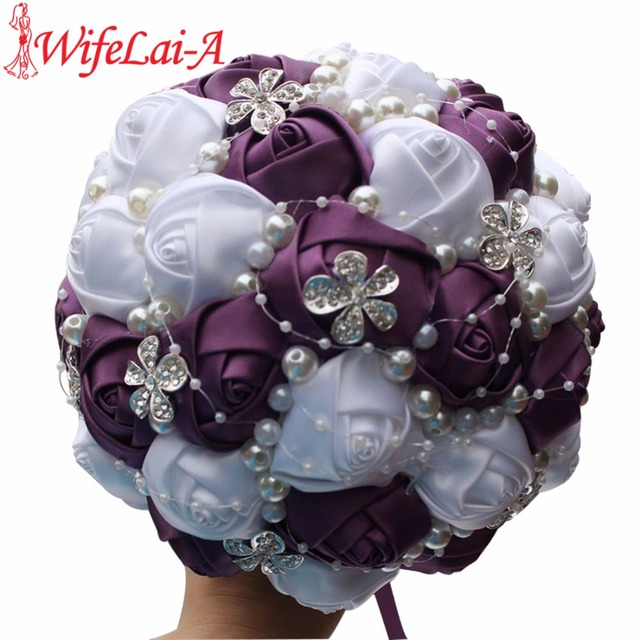 WifeLai A Custom Dark Purple White Roses Flower Wedding/Bridesmaid ...