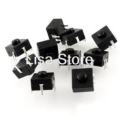 Black 5 Pin Round Push Button Flashlight Torch Square Switch
