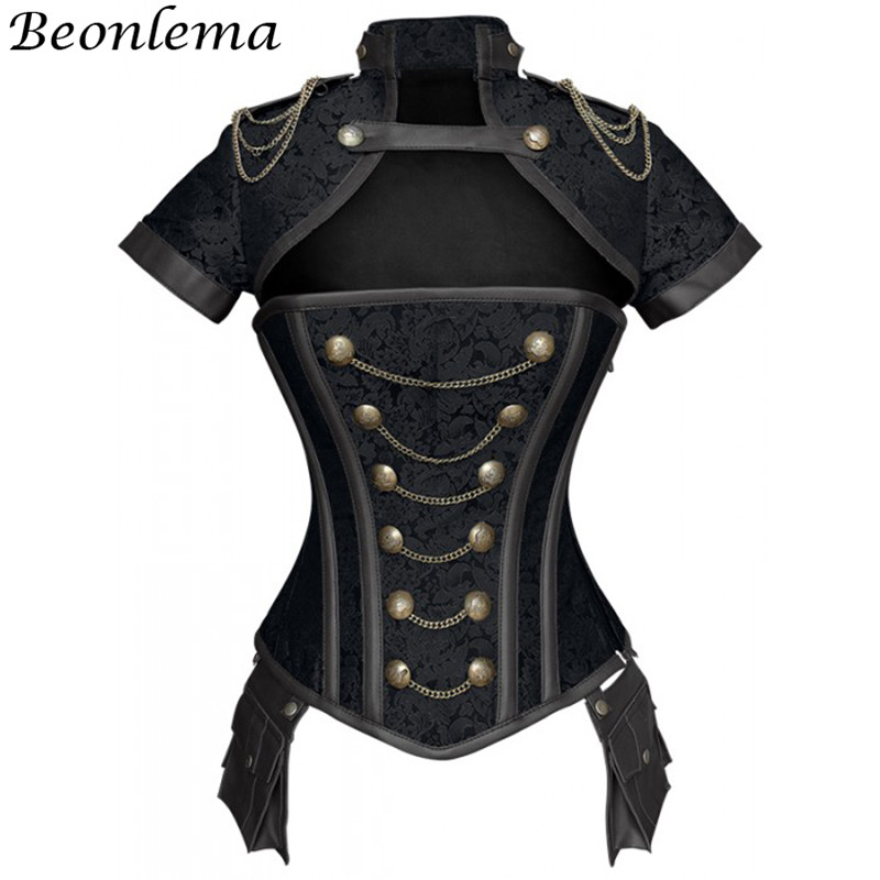 Beonlema Black Red   Corsets   Steampunk Women Sexy Goth Clothing Steel Bones Overbust Gothic Retro Korse Femme Punk   Corset   Set