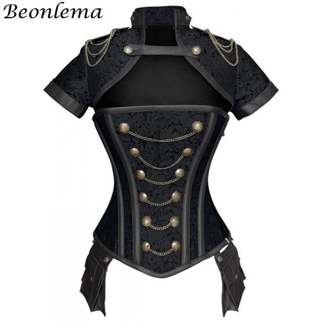 Beonlema Corset gothique, rouge, noir, Steampunk pour femmes, tenue Sexy en acier, surbuste, Corset gothique rétro, Punk
