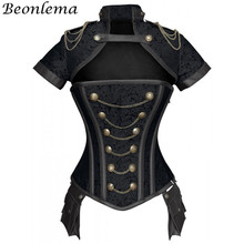 Beonlema שחור אדום מחוכי Steampunk נשים סקסי גותיקה בגדי פלדת עצמות Overbust גותי רטרו Korse Femme פאנק מחוך סט