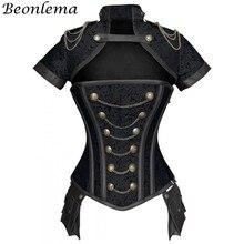 Beonlema espartilhos vermelhos, corseletes pretos vermelhos sexy para mulheres com ossos de aço, estilo steampunk retro