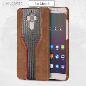 Image 1 - Carcasa de teléfono móvil wangcangli para Huawei Mate 9, funda de teléfono móvil avanzada personalizada de piel de vaca y textura de diamante, Funda de cuero