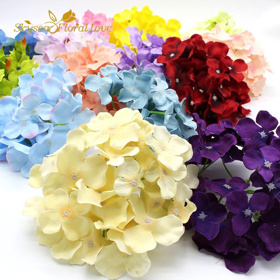 Free Shipping artificial hydrangea flower head DIY silk flower wall ...