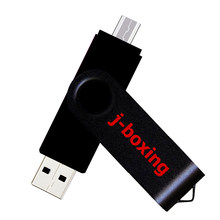 J-boxing 2 en 1 USB OTG Flash 64G 32GB 16GB 8GB memoria USB Pendrive Metal giratorio para Android Smartphone Flash Disk(China)