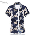 Men Floral Print Dress Shirts Short Sleeve Thin High Quality Cotton Blouses Social Slim Fit Plus Size Summer 2016 Camisas S066