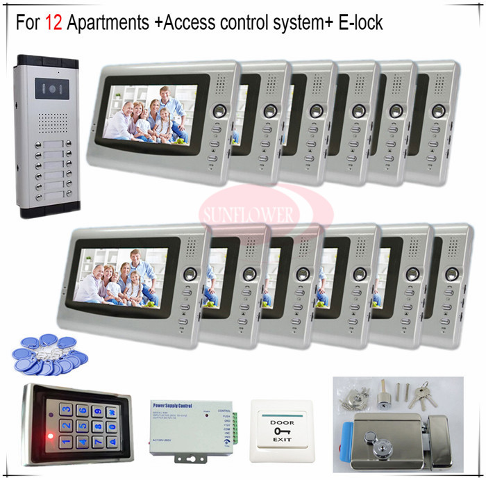 Access control function Video Door Phones intercom systems For 12 Apartments with twelve 7 LCD and 12 buttons outdoor camera orient ub8y001w
