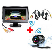 Free Shipping Easy Installation Car Parking Monitor with Rearview Camera and Wireless Set to Connect Monitor and Camera