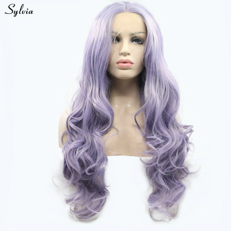 Sylvia High Temperature Fiber Purple Wig Body Wave Synthetic Lace Front Wigs For Women Lady Girls Natural Long Hair Pastel Lilac