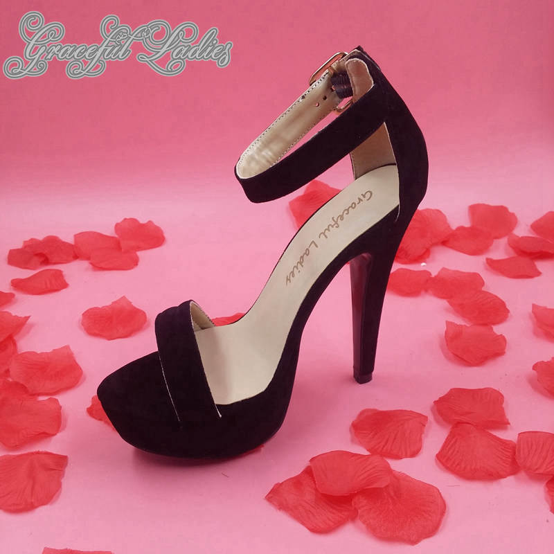 0e7001367447 Black Suede Platform Sandals Women Shoes High Heels Strappy Heels Chaussure  Femme Black Leather Work Shoes for Women Sandal New