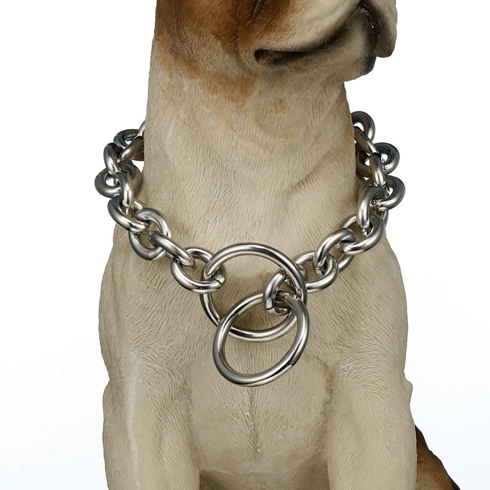 13/15mm Starke Silber Farbe Edelstahl Slip Hund Kragen Hunde Training Choke Kette Halsbänder Für Große Hunde Pitbull Bulldog