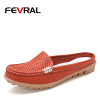 FEVRAL Summer Candy Colors Genuine Leather Women Casual Shoes 2018 Fashion Breathable Slip On Peas Massage