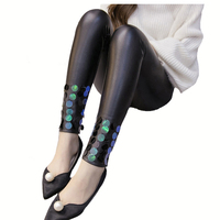 CUHAKCI Hot Charming Warm Winter Leggings Mesh Pearl Lace PU Leather Leggings Women Beads Rivet Thick