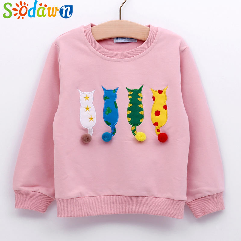 Sodawn 2017 Autumn Winter New Fashion Cartoon Design Kids Sweater Girls Clothes Cute Cotton Sweater Long Sleeve T-Shirt