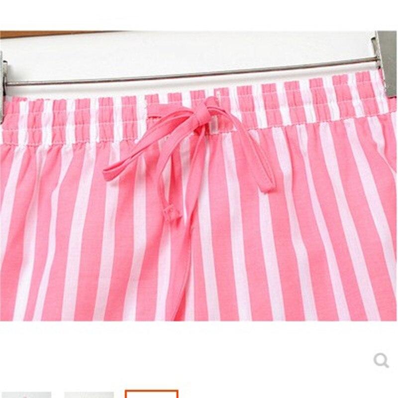 Женские штаны для сна, летняя хлопковая тонкая Пижама, штаны в полоску, дамские штаны для сна, свободные шорты