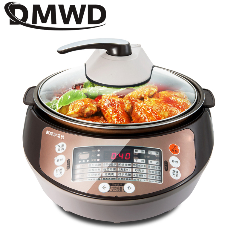 DMWD 5L Multifunction Intelligent Robot Electric Automatic Cooking Machine Smart Food Cooker Stew Pot Wok Non-stick Frying Pan