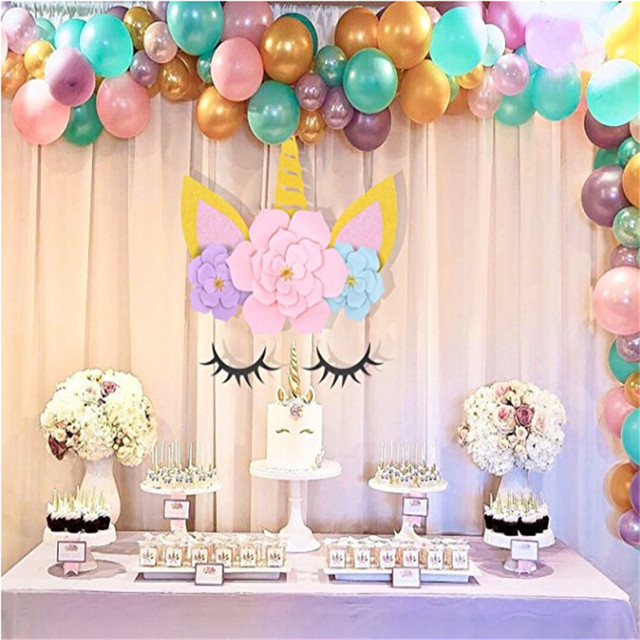 Unicorn Party Horn Ears Paper Eyelashes Flowers Backdrops Supplies