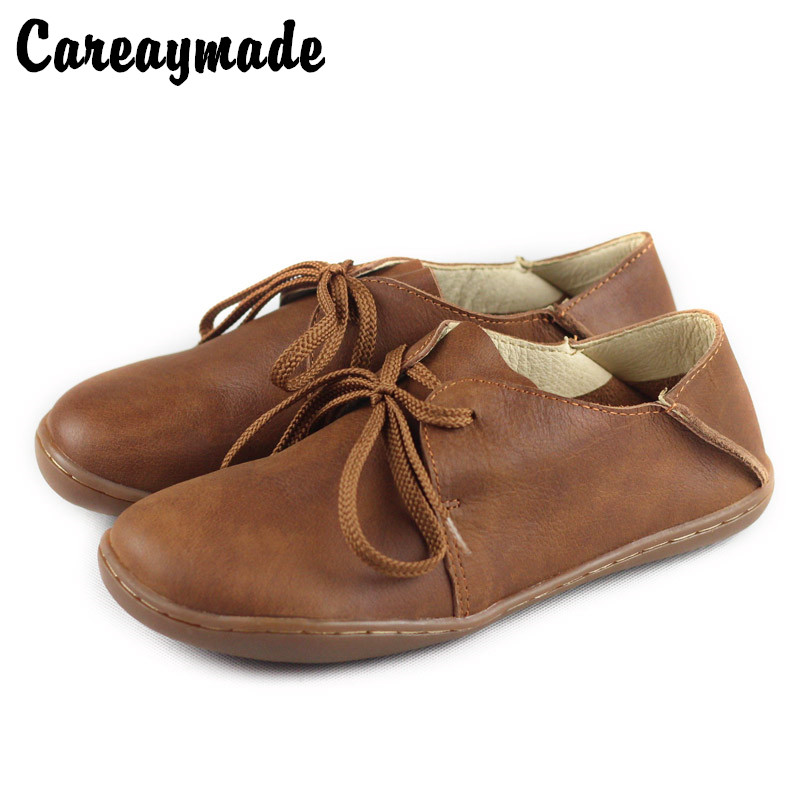 Careaymade Spring Mori girl art casual shoes Head layer cowhide academic flat shoes purely Handmade Casual