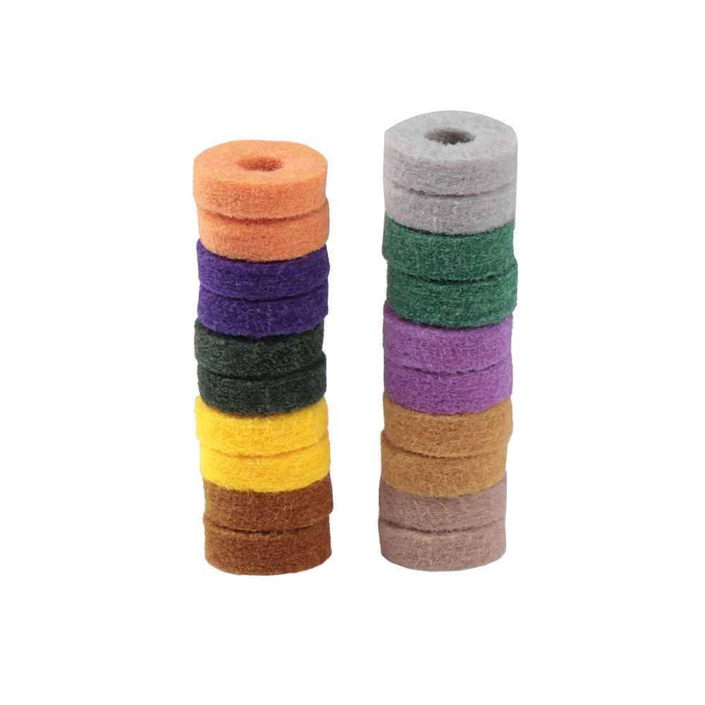 20pcs Colorful Cymbal Stand Felt Washer Pad Replacement Round Soft for Drum Set Cymbals Random Color Delivery