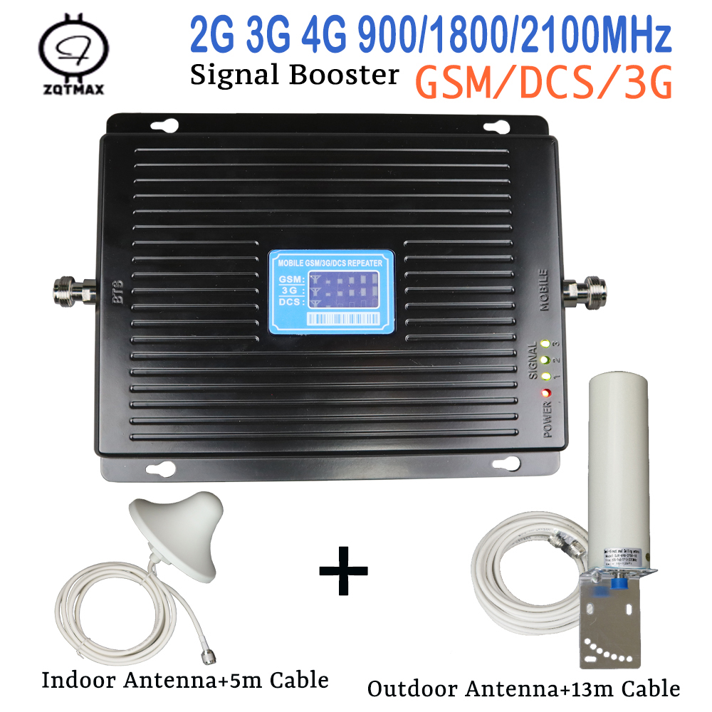 New 2G 3G 4G Tri Band Cell Phone Signal Booster 75dB GSM Repeater 3G WCDMA UMTS 2100 4G LTE 1800 Amplifier Antenna Set For Home