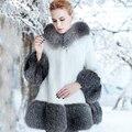 2016 Новый Роскошный Большой Меховой Отделкой С Капюшоном Искусственной Норки Пальто Женщин куртка Из Искусственного Белый Меховая Куртка Манто Fourrure Femme Искусственный Мех пальто