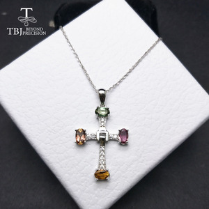 Image 2 - TBJ ,Elegant cross design with natural tourmaline multicolor gemstone necklace in 925 sterling silver fine jewelry with gift box
