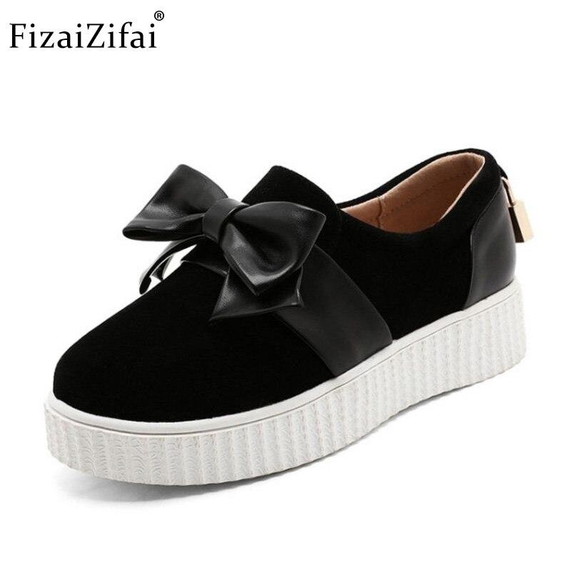Taille Beige Simple Coins noir Fizaizifai Bowknot Plate Bas Chaussures 34 gris Orteil Pompes forme 43 Femmes Épais dqwt6x