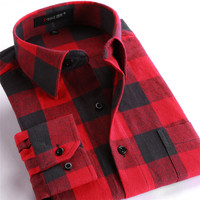 D001 New Fashion 2014 Men Shirts Plaid Causal Shirt Long Sleeve Flannel High Quality Mens Clothes