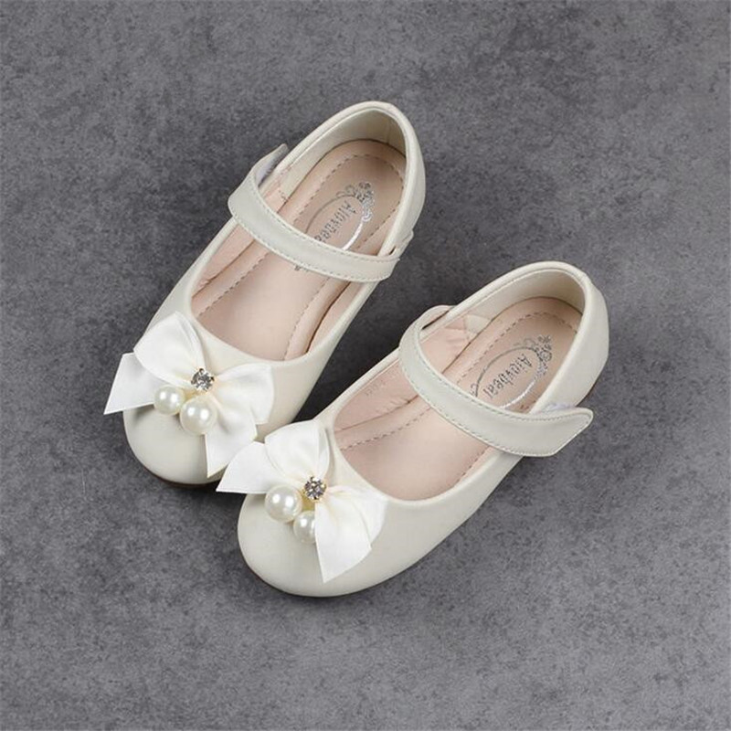 Upscale Pearl flowers Girl Leather Shoes For Girls Party Dance Children Shoes Princess Platforms Child Wedding Shoes Size 24-34