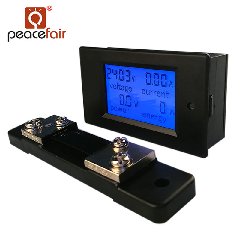 PZEM-051 <font><b>DC</b></font> Digital <font><b>Ammeter</b></font> <font><b>Voltmeter</b></font> 6.5-<font><b>100V</b></font> 4 IN1 LCD Motorcycle Voltage Current Power Energy Monitor With <font><b>50A</b></font> Shunt image
