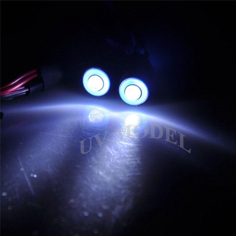 5mm 2 Leds Angel & Demon Eyes LED Farol Luz Traseira para 1/10 rc Car Azul + Top Branco qualidade