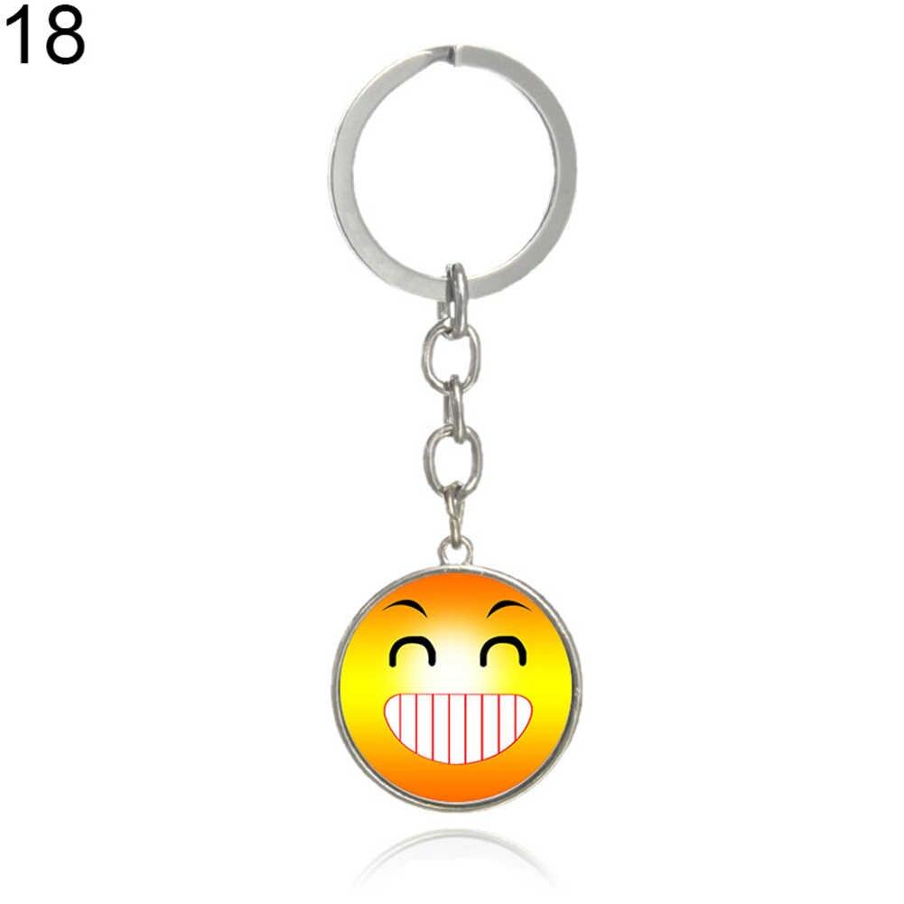 Mulheres Homens Charme Jóias Emoji Emoticon Cabochão De Vidro Engraçado Keychain do Anel Chave