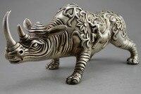 Разработка китайских фэн шуй ручной белый медный животного статуя носорога