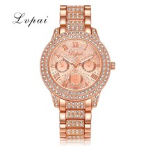Lvpai Brand Women's Steel Watch Rose Gold Roman Numerals Bracelet WristWatches For Women Fashion Luxury Watch Quartz Clock 2017