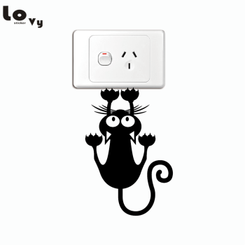 Creative Cat Hanging On Light Switch Sticker Wall Decal Home Art Vinyl Cartoon Cat Sticker
