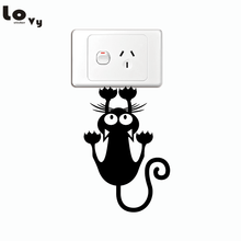 Creative Cat Hanging On Light Switch Sticker Cartoon Animal Wall Stickers for Kids Rooms Bedroom Home Decor