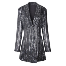 chemical foiled fabric long blazer for women hot fashion slim waist blazer jacket runway style women's sequined blazer suit