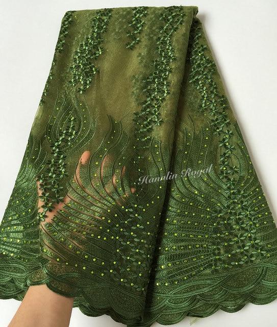 5 ярдов армейский зеленый очень мягкий Уникальный Африканский швейцарский Тюль Кружева французская кружевная ткань в нигерийском стиле тк...