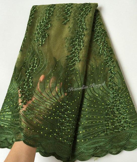 5 yards verde Dell'esercito molto morbido unico Svizzero Africano tulle del merletto Nigeriano Francese tessuto del merletto di alta qualità Che Ti piacerà vendita calda