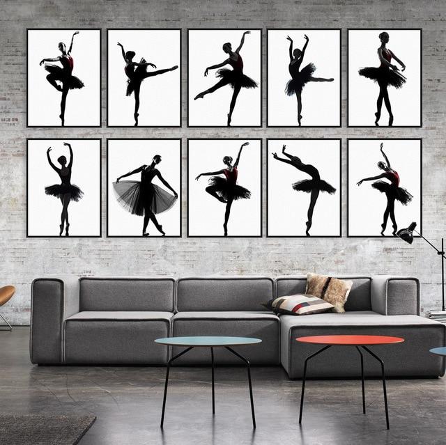 Modern Black White Ballet Dancer Silhouette Beauty Girl Photo Art Print Poster Wall Picture Canvas Painting Ballerina Home Decor